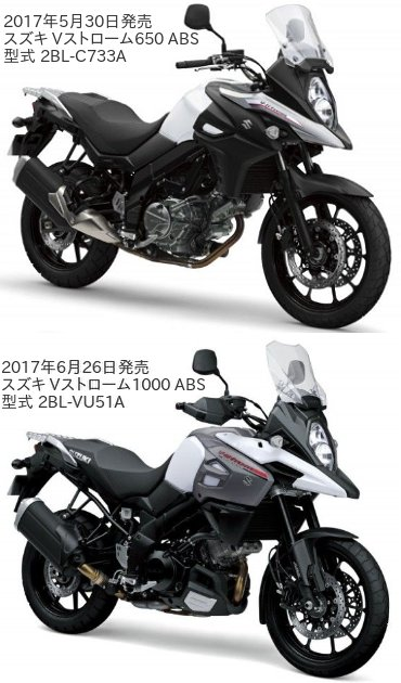 Vストローム650 ABS(2BL-C733A)とVストローム1000 ABS(2BL-VU51A)の違いを比較