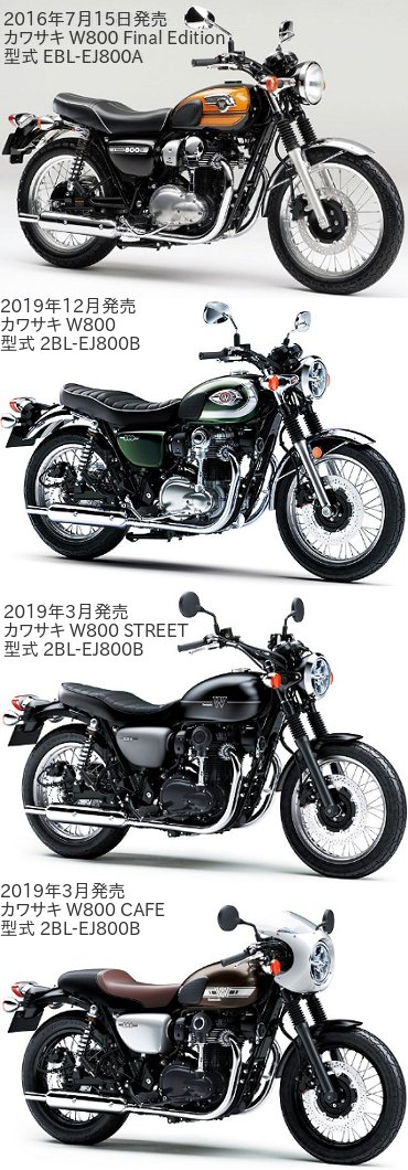 W800とW800STREETとW800CAFEの違いを比較