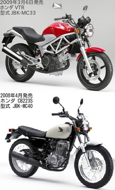 VTR(JBK-MC33)とCB223S(JBK-MC40)の違いを比較